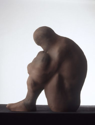 Red Hunched Man, 1988, ceramic