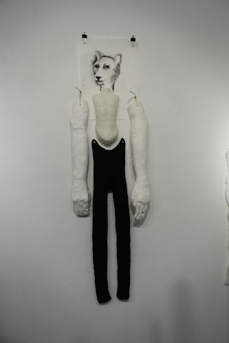 Exquisite Corpse, 2013,  cast paper pulp, wax, plaster, fabric, charcoal on paper