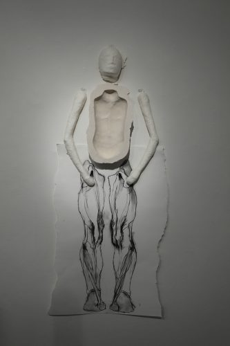 Exquisite Corpse, 2013, cast paper pulp, plaster, charcoal on paper