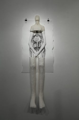 Exquisite Corpse, 2013,  cast paper pulp, wax, plaster, charcoal on paper