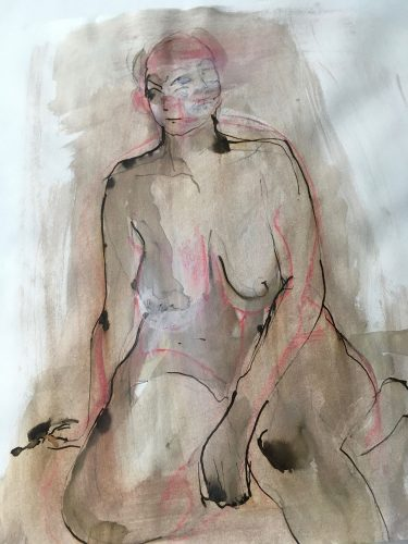 Untitled (life drawing), 2018. charcoal,ink and wash