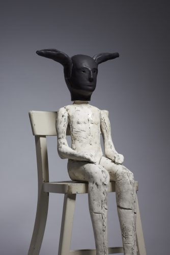 Seated Figure with Black Ears, 2015, Ceramic