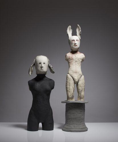 Left: Lop-eared Woman Right: Statue, 2015, ceramic