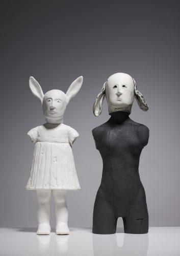 Left; Rabbit Girl Right; Lop-eared Woman, 2015, ceramic