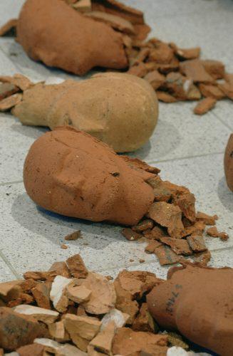 Ex-Votos, detail, 2003-2004, brick clay