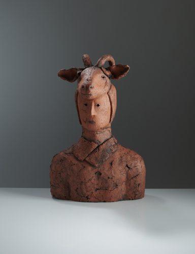 Red Careto Portrait, 2019, ceramic