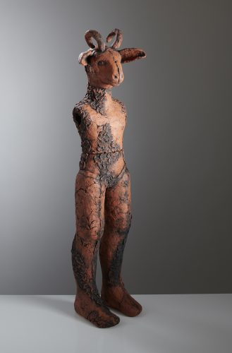 Tall Red Careto, 2019, ceramic